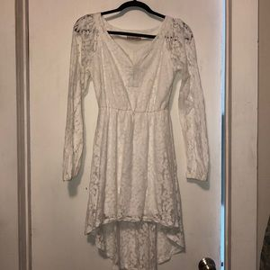 GB white lace dress small long sleeved high low